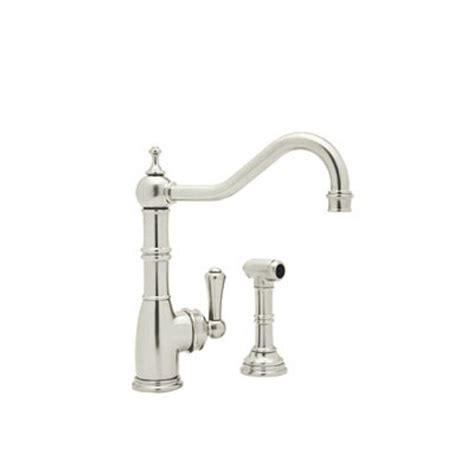 rohl perrin and rowe single handle standard kitchen faucet with side sprayer in polished nickel