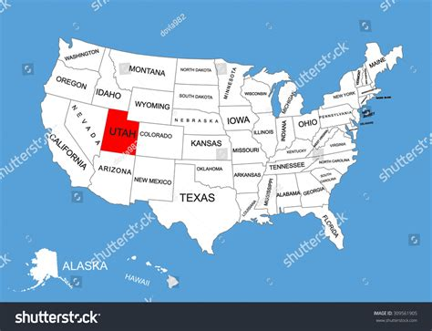 usa states map utah utah state usa vector map isolated on united states map