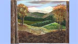 Landscape Quilting Material Painted Stitched Landscape Quilt