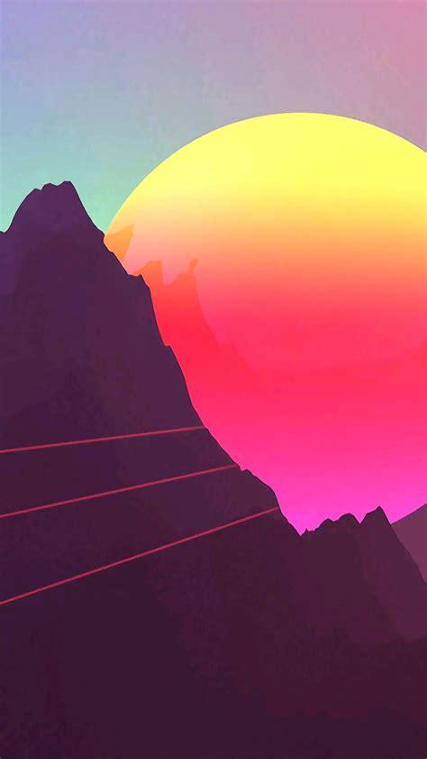 digital sunset mountain iphone wallpaper iphone