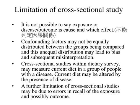 limitations of cross sectional studies ppt cross sectional study powerpoint presentation id