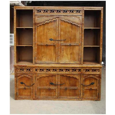 ontario rustic solid wood hand carved large dining room hutch