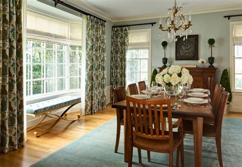 impressive window treatments bay windows fashion portland traditional dining room decoration ideas blue walls boxwoods crown molding