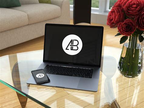 MacBook Air on Coffee Table Mockup   MockupWorld
