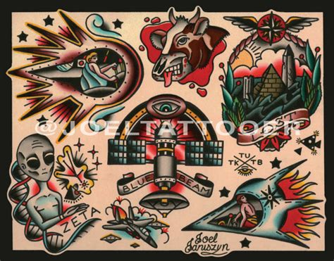 old school ufo tattoo traditional ufo alien extraterrestrial by