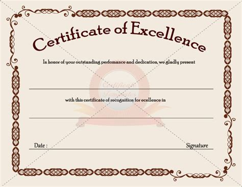 certificates of excellence templates certificate of excellence templates certificate templates