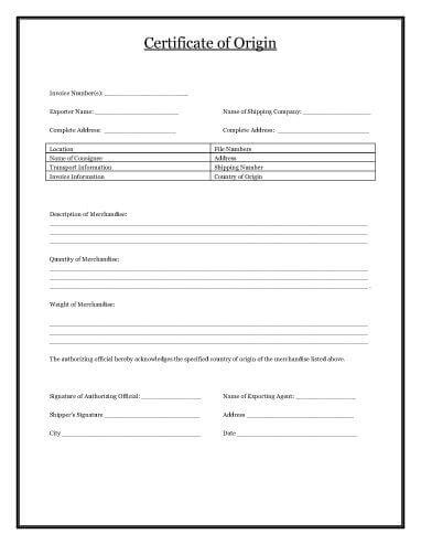 certificate of origin form template certificate of origin template