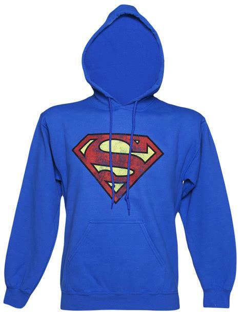 blue distressed superman logo hoodie