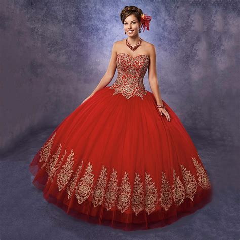 Popular Quinceanera Dresses Red and Gold Buy Cheap