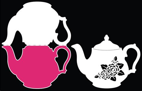 Teapot Card Template by Vintage Teapot Card Free Cut File