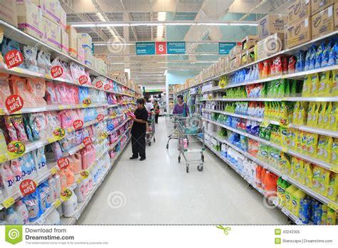 lotus express worle goods on aisle at tesco lotus supermarket editorial image