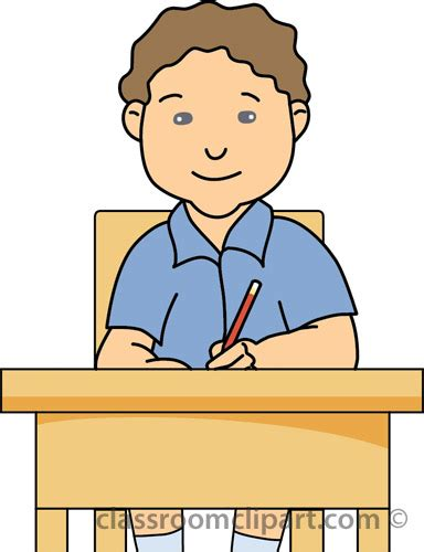 student at desk clipart school clipart student holding pencil desk classroom