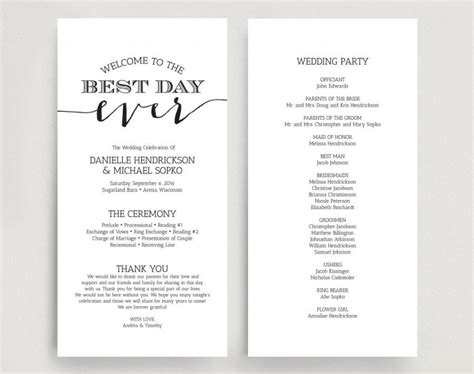 templates for wedding programs wedding programs wedding program instant download
