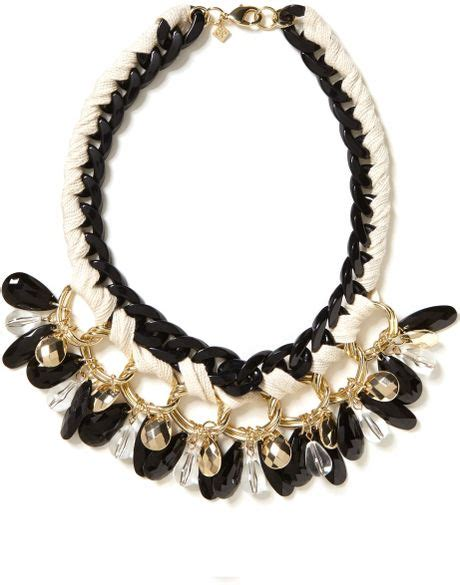 banana republic black and gold charm necklace black gold in gold black gold lyst