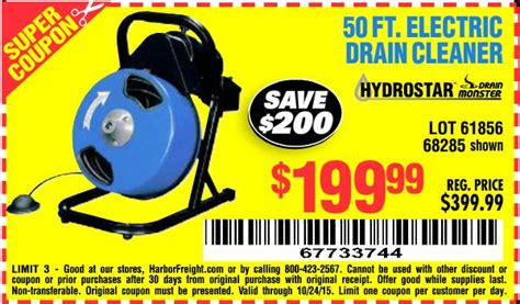 harbor freight drain cleaner coupon