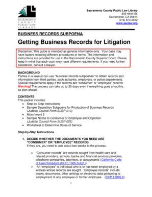 Ca Records Act Fillable Saclaw Lib Ca Business Records Subpoena