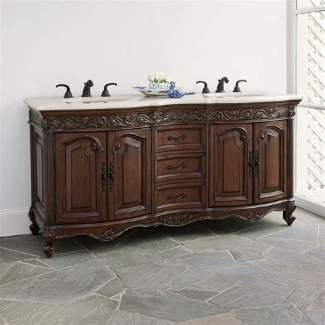 72 Provincial Double Sink Chest Dark Bathroom Vanity Provincial Bathroom Vanity