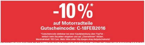 Ebay 10 Prozent Motorrad by Ebay Gutschein August 2017 10 Mit Dem Newsletter