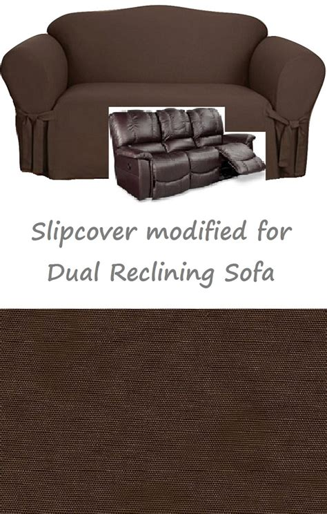 dual reclining sofa slipcover dual reclining sofa slipcover cotton chocolate sure fit