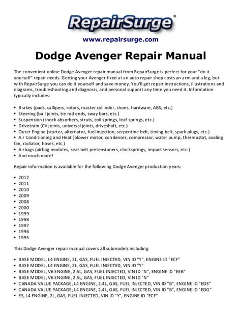 dodge avenger repair manual 1995 2012