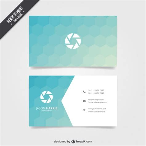 hexgonal card template business card with blue hexagons vector free