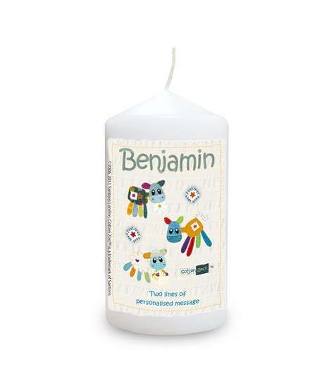cotton zoo blue farm animals personalised candle