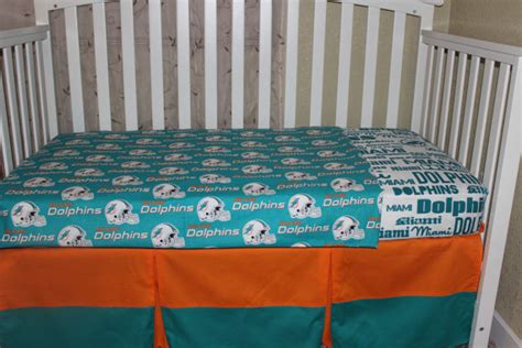 Nfl Crib Bedding Crib Bedding Set Miami Dolphins 5 Nfl Bumperless