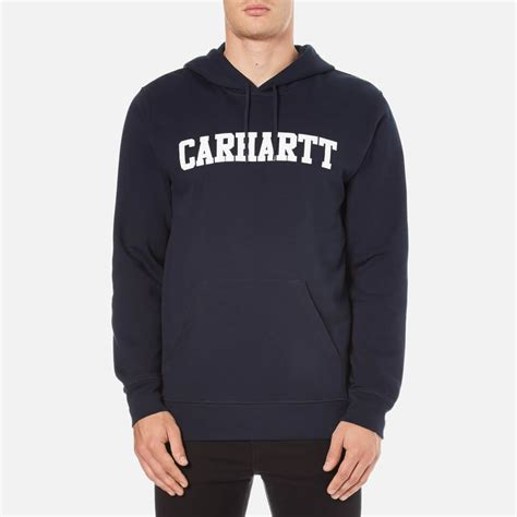 Sweater Carhart Roffico Cloth carhartt s hooded college sweatshirt navy white mens clothing thehut