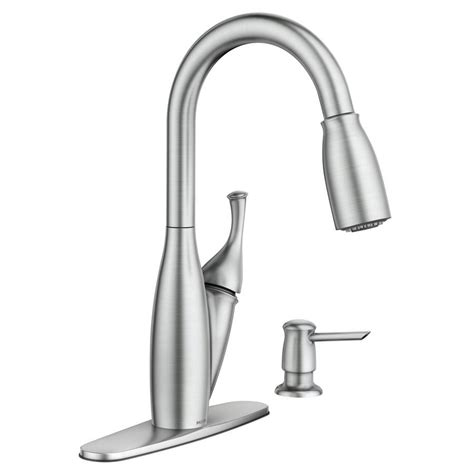 moen pull down kitchen faucet shop moen kendall spot resist stainless 1 handle pull down