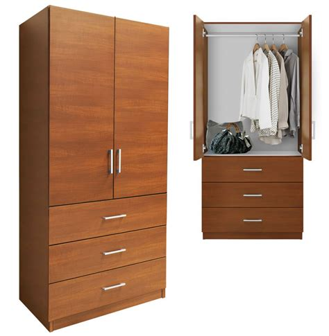 armoire with drawers alta wardrobe armoire 3 external drawers contempo space