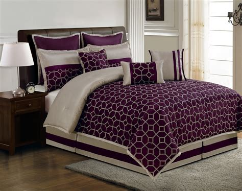Plum Bedding Sets by 9 Diamante Plum And Taupe Comforter Set
