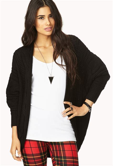 Cardigan Forever 21 Lyst Forever 21 Fresh Cable Knit Cardigan In Black