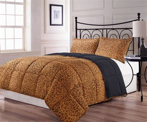black cheetah comforter full queen size 3pc reversible brown black leopard print