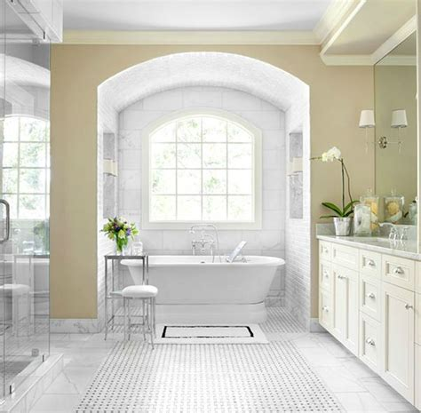 bathroom alcove ideas beautiful master bathroom design with yellow walls paint color marble basketweave tiles floor
