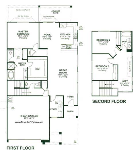 Floor Plans With Two Master Suites by Torreno At Rancho Vistoso Floor Plan Heatherly Model