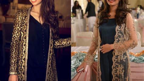 latest long net embroidered shrug design ideaspakistani