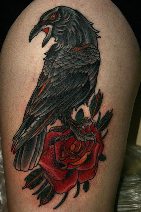 raven with rose tattoo traditional www pixshark images