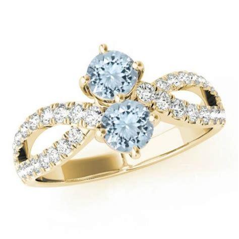 aquamarine split shank ring 14k white gold