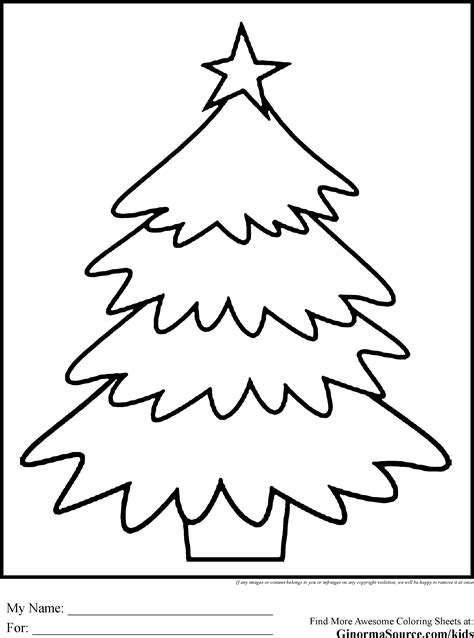 christmas coloring pages simple christmastree ginormasource kids