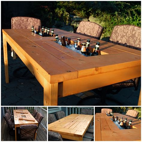 Patio Table Diy Wonderful Diy Patio Table With Built In Wine Cooler