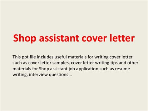 store assistant cover letter shop assistant cover letter