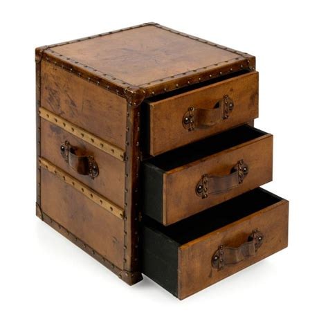 3 Drawer Storage Unit by Aged Brown Leather 3 Drawer Leather Storage Unit Buy