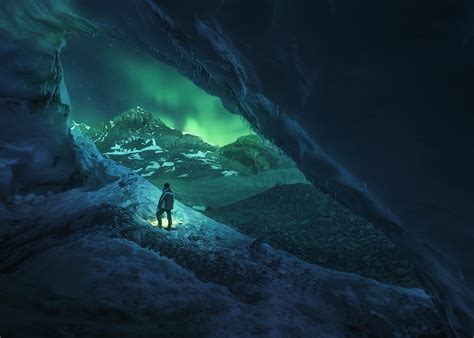 men canada cave ice nature athabasca winter night