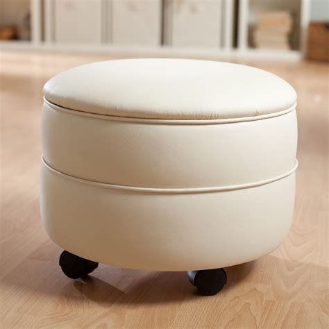 round white leather ottoman round white leather ottoman with storage and black wheels