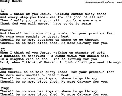 printable country lyrics country southern and bluegrass gospel song dusty roads lyrics