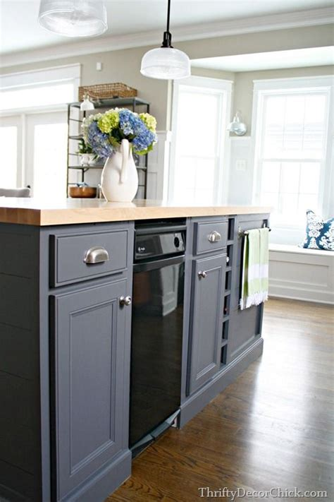 Kitchen Island Colors Gray Kitchen Island Painted With Peppercorn From Sherwin Williams Butcher Block Counter