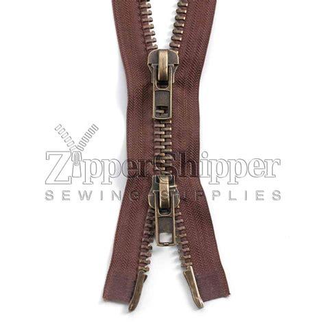 Jaket Zipper 10 antique brass two way heavy separating jacket zippers