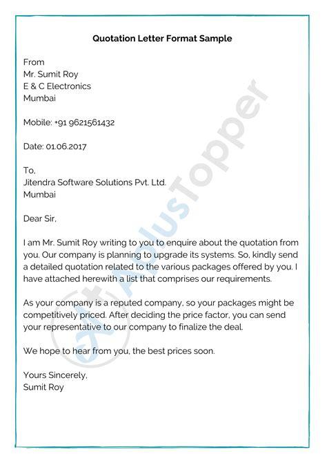 quotation format letter format sample write