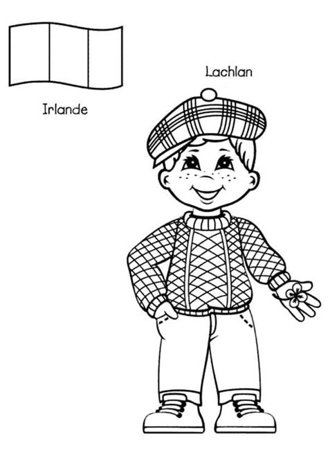 irish santa coloring page lachlan irish kid from around the world coloring page