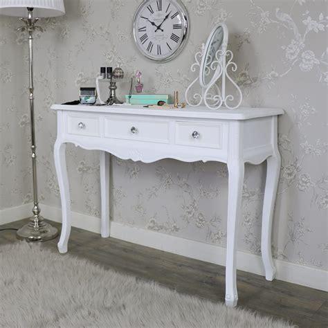 white three drawer dressing table elise white range 3 drawer console dressing table